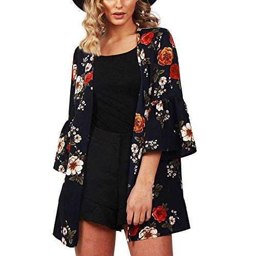 Clearance !GREFER Women Tops Open Front Casual Flower Print Light Chiffon 3/4 Sleeve Cardigan Blouses -