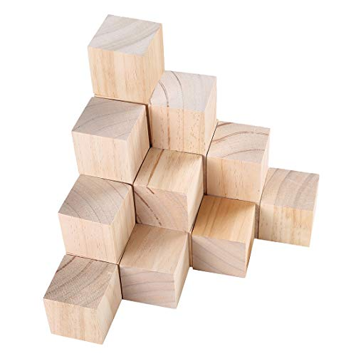 Efivs Arts 2x2x2 Wood Blocks Unfinished Wooden Block Cubes for Crafts and Carving-Set of 10