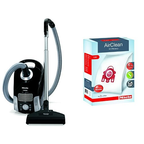 Miele Compact C1 Turbo Team Canister Vacuum,Obsidian Black & Miele AirClean 3D Efficiency Dust Bag, Type FJM, 4 Bags & 2 Filters