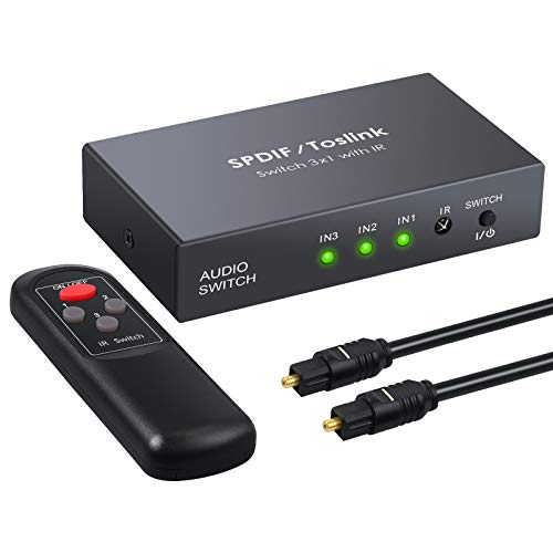LiNKFOR Digital Toslink Optical 3x1 Switch with 3ft Optical Cable and IR Remote Control Aluminum Alloy Digital Audio SPDIF Toslink Optical Fiber Switcher 3 in 1 Out for PS3 Xbox (Best Audio Converter With Fibers)