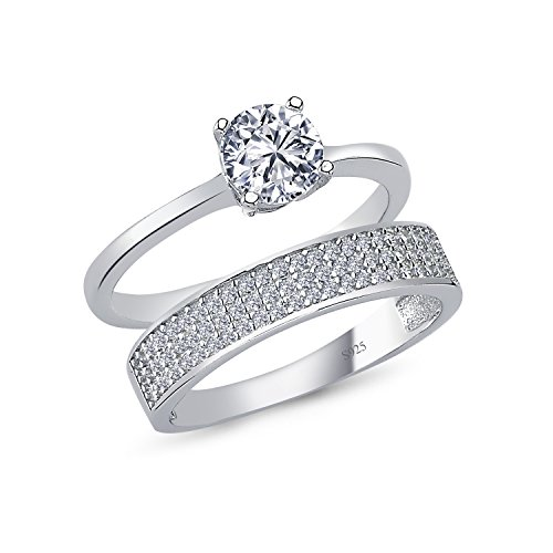 925 Solid Sterling Silver Cushion Halo AAAAA+ Gem Grade Quality ROUND BRILLIANT Cut 2 Pieces RING Set,Bridal Sets Anniversary Promise Engagement Wedding CZ Rings Comfort Fit and Rhodium Plated by CHIARA