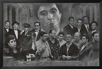 professionally framed gangsters collage godfather goodfellas scarface sopranos movie poster print black and white