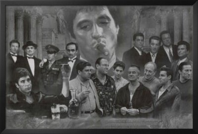 Scarface Framed Poster (Professionally Framed Gangsters Collage Godfather Goodfellas Scarface Sopranos Movie Poster Print (Black and White)- 24x36 with Solid Black Wood Frame)