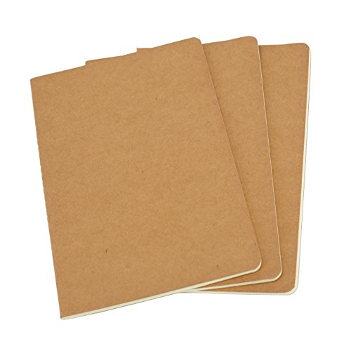 Twone Unlined Travel Journal Set With 3 Notebook Journals for Travelers - Kraft Brown Soft Cover - A5 Size - 210 mm x 140 mm - 60 Pages