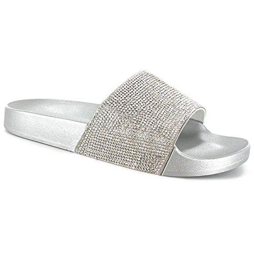 ISLAND® SUGAR Simples Femmes Flip Flops Célébrité Paillettes Style curseurs Pantoufles Diamante Argent Mules Dames TqCdwq6