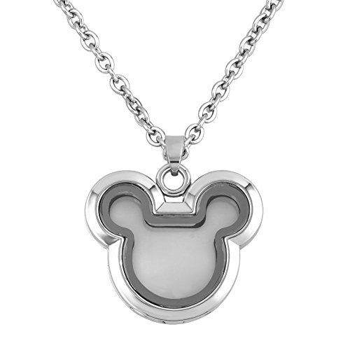 Cory Keyes Heart Round Guitar Glass Locket Necklace For Living Memory Floating Charms (Micky Mouse) -