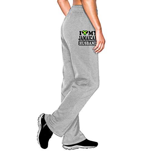 Bubu098PO Womens Jogger Sweatpants Jamaican Husband Jamaica Flag Middle Rise Fleece Pants Gray ()