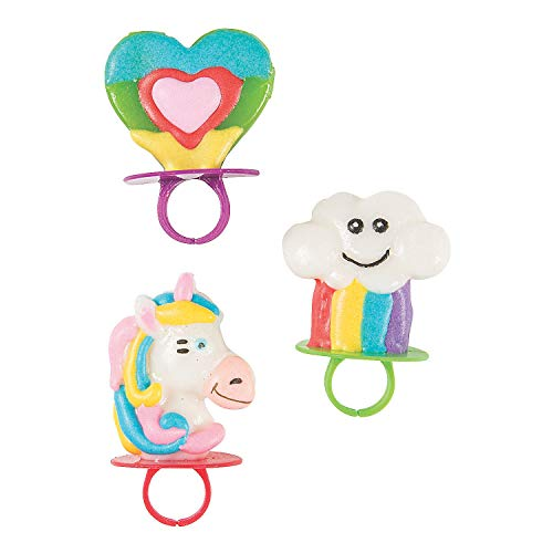 (Fun Express Rainbow Unicorn Lollipop Rings | 18 Count | Great for Unicorn Themed Party, Kids Birthday, Favor,)