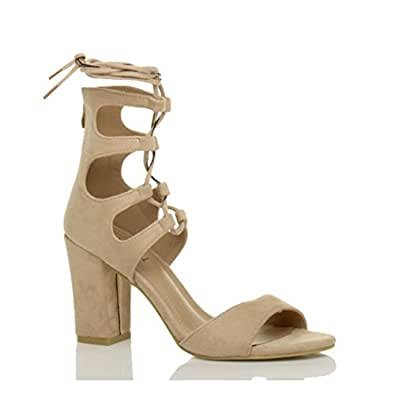 657412c0a56 Ajvani Women s High Heel Ghillie Lace Up Peep Toe Shoes Sandals Size ...