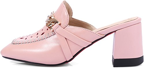 Womens 5CM Mule CaUnit3 Toe Calaier Slip Pink Closed Shoes Block 6 Heel on dgwnqH