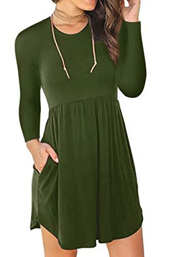 Pleated Washed Silk Dress - QINSEN Women Crewneck Tee Shirt Dress with Pockets Long Sleeve Casual Loose Swing Midi Dress Army Green L