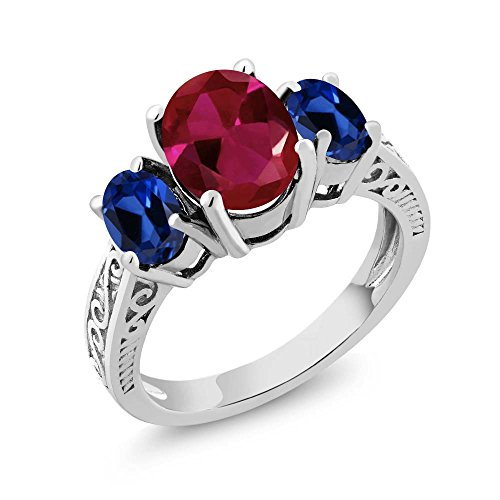 Gem Stone King 3.75 Ct Red Created Ruby Blue Simulated Sapphire 925 Sterling Silver 3-Stone Ring (Size 9)