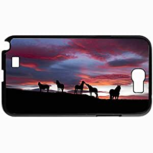 Personalized Protective Hardshell Back Hardcover For Samsung Note 2, Horse Design In Black Case Color