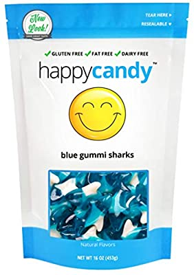 Happy Candy Blue Gummi Sharks - Gluten Free, Fat Free, Dairy Free - Resealable Pouch (1 Pound)
