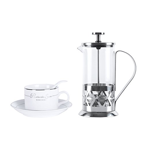 Top Finel French Press Coffee Espresso Maker Tea Pot Stainless Steel Heat Resistant Glass Gift Mug Camping Mini 12oz/350ml