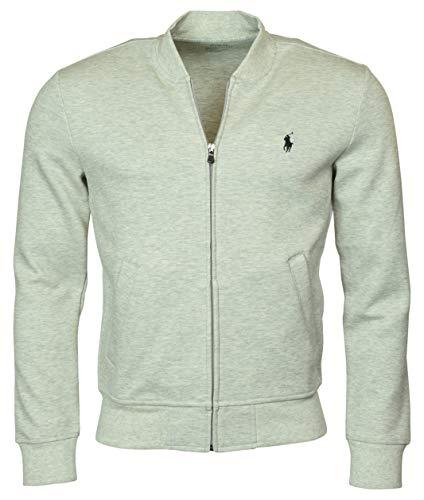 Polo Ralph Lauren Men's Double-Knit Bomber/Track Jacket - L - Grey Heather (Mens Fleece Ralph Lauren)