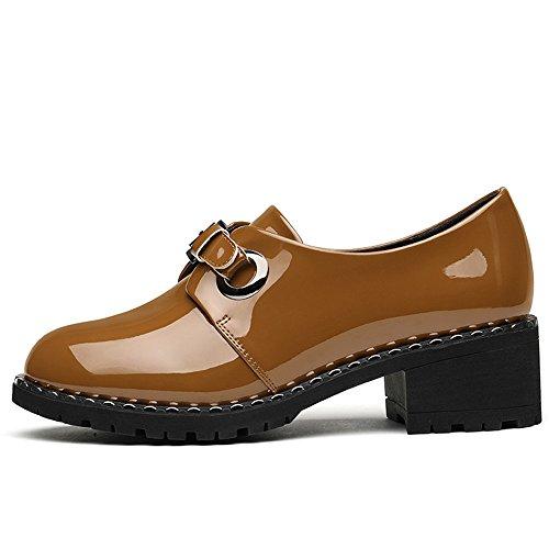 Plano Hembra Zapatos Trabajo Los Lugar De Xzgc Brown Cómodo Fondo Cuero gzXxq