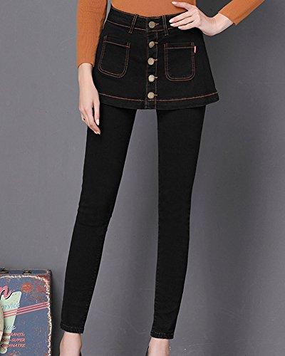 Pince Taille Droit Printemps Femme Noir Pantalon Mince Haute Jeans Pantalon 0Ex5Sq