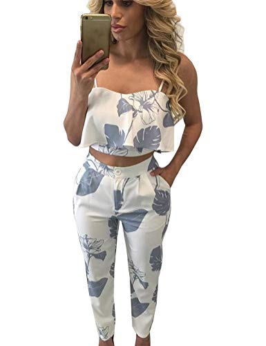FANCYINN Women 2 Pieces Jumpsuit Romper Spaghetti Strap Top and Long Pants Casual Style Gray Leaf M