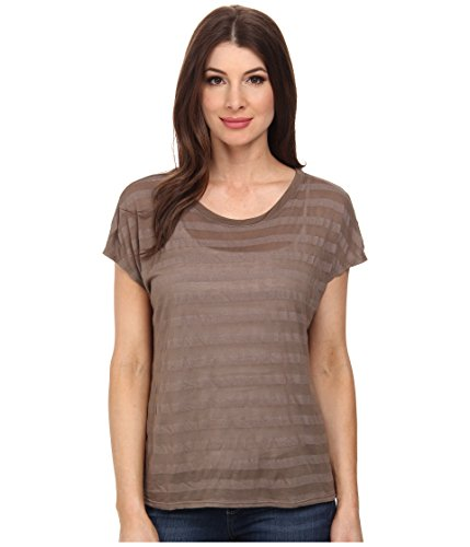 Michael Stars Women's Shadow Stripe Short Slevee Crew Neck Caper T-Shirt One Size (US 0-12) ()