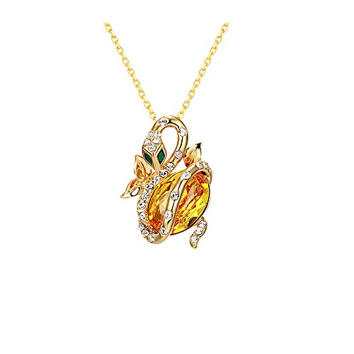 (Blue Pearls - Yellow Swarovski Crystal Elements Snake Pendant Brooch and Yellow Gold Plated - CRY E714 J CRY E714 J)