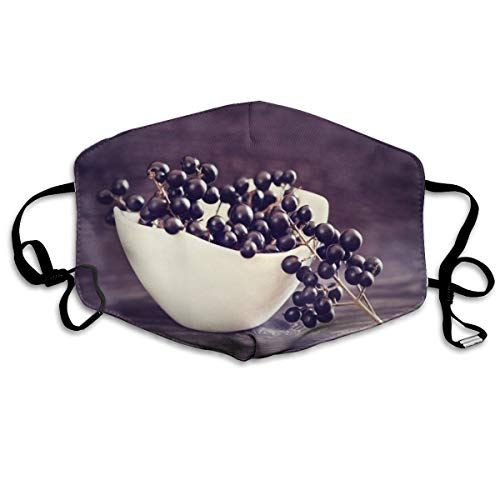 Whages Grapes On Bowl Washable Reusable Safety Breathable Mask, 4.3