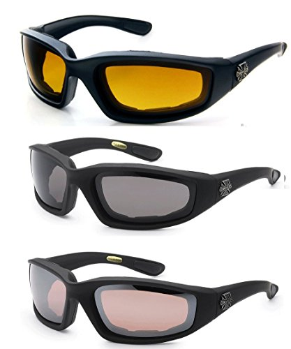 3 Pairs of Choppers Glasses Padded Frame Lense Block 100% UVB for Outdoor Activity Sport (HD - Smoke - Amber)
