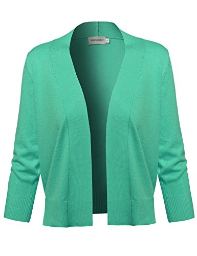 Awesome21 Solid Soft Stretch 3/4 Sleeve Layer Bolero Cardigan Green Size XL by Awesome21 (Image #1)