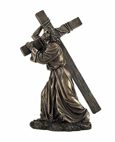 Bronzed Jesus on the Way to Calvary Statue (Statue Of Jesus Christ On The Cross)