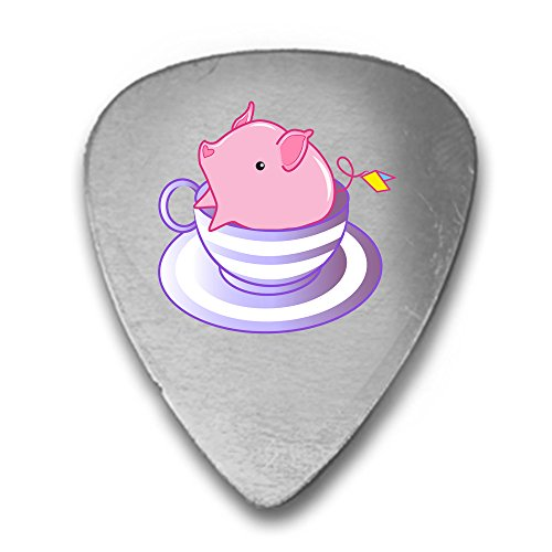 (Teacup Pig In A Striped Purple Teacup Cute And Adorable 3D Color Printed Guitar and Bass Pick Gift Silver)
