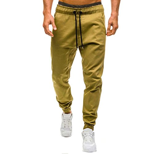 Freeheart Men's Casual Cotton Jogger Pants Drawstring Elastic Waistband Trousers (Khaki, 2XL)