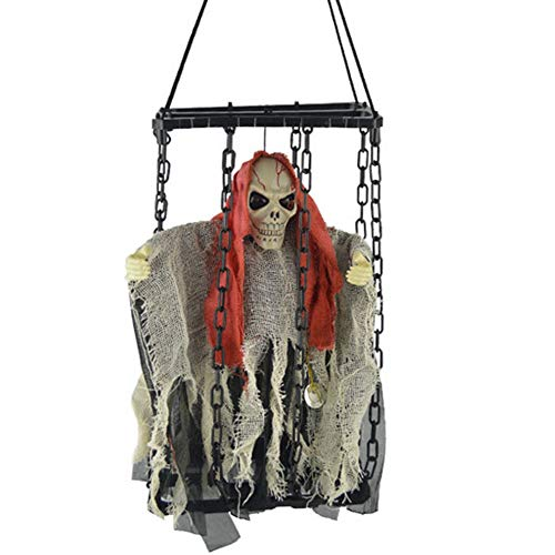 Overstep Funny Halloween Glowing Ghosts Cage Family Party Hanging Decoration Zombie Props Fun Holiday Decoration]()