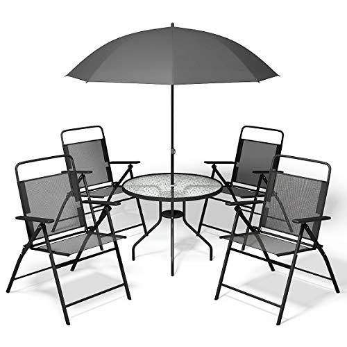 Giantex 6 PCS Patio Garden Set Furniture Umbrella Gray with 4 Folding Chairs Table
