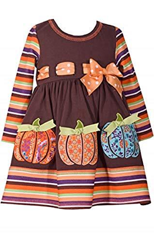 Bonnie Jean Girls' Toddler Appliqued Dress, Brown Pumpkin Stripe, 4T