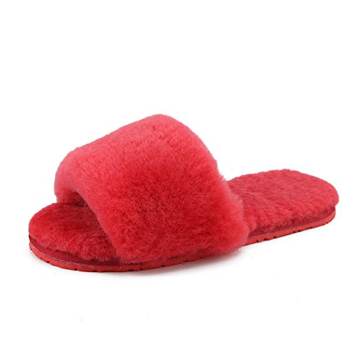 Nafanio Women's Slippers Memory Foam Female Real Wool Fur Warm Slides Sheepskin Home Flip Flop Indoor Winter Shoes