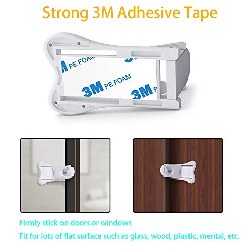 Sliding Door Lock, QYUKUYU Baby Safety Childproof Locks for Closets, Window,Doors, Shutters & More, No Tools Needed (4 Pack, White) by QYUKUYU (Image #2)
