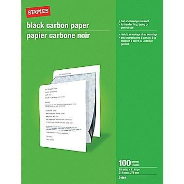 """Staples Carbon Paper, 8-1/2"""" x 11"""", Black"""