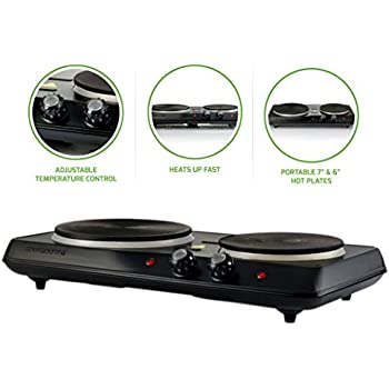 Amazon Com Ovente Countertop Electric Double Burner With