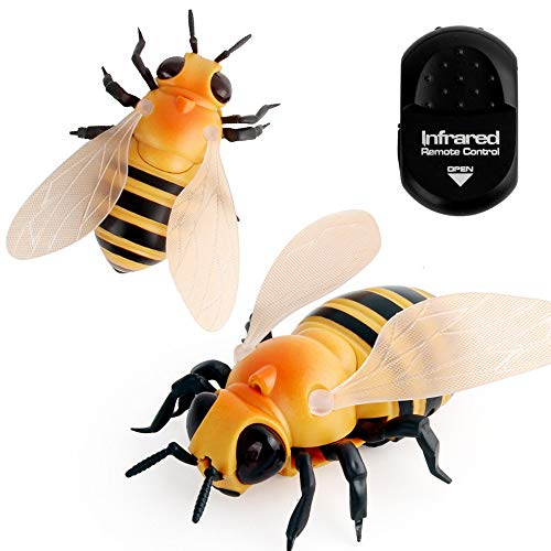 Hisoul Hot  Remote Control Insect Toy Realistic RC Bee Flies Insect Animal Trick Terrifying Toy with LED Light for Kids Tricky Toy (Yellow) ()
