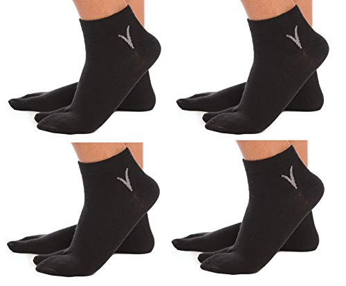 4 Pairs Ankle V-Toe Black Tabi Flip-Flop Cotton Style for sale  Delivered anywhere in USA
