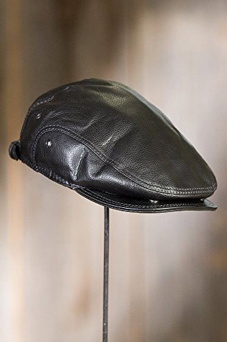 Overland Sheepskin Co. Allen Leather IVY Cap, Black, Size Large (7 1/4-7 3/8) by Overland Sheepskin Co (Image #6)