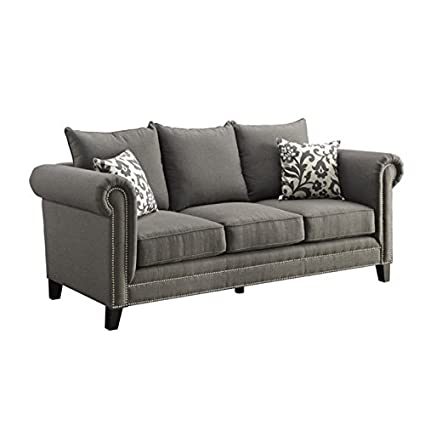 Lovely Bowery Hill Fabric Sofa In Gray