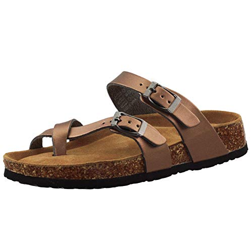 VLLY Women's Synthetic Leather Ring Open Toe with Soft Cork Footbed Sandals US 7 Bronze