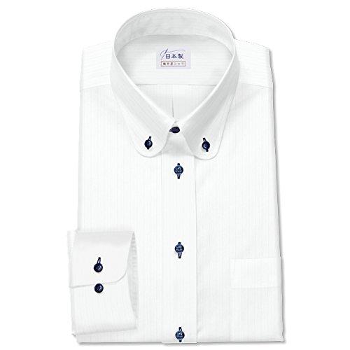 ワイシャツ 軽井沢シャツ [A10KZB779] ボタンダウン ティップラウンドカラー ホワイト 形態安定 らくらくオーダー受注生産商品 B011N49CE6 首回り:52 裄丈:73|大きめ型 大きめ型 首回り:52 裄丈:73