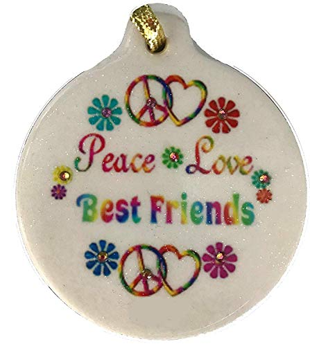 Laurie G Creations Peace Love Best Friends Porcelain BFF Rhinestone Ornament Boho Hippie Flower Child