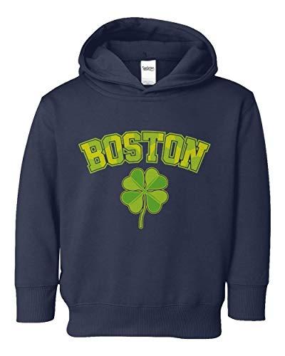 (Societee Boston Shamrock Irish Pride Little Kids Girls Boys Toddler Hooded Sweatshirt (Navy, 4T))