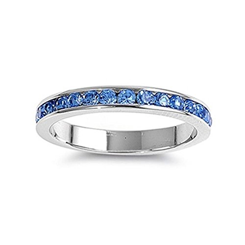 Glitzs Jewels Sterling Silver Simulated Blue Topaz Eternity Thin Band Channel Set 3mm Ring, 3mm Choose Your Color