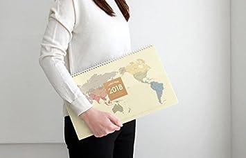 Agenda 2018 planificador de escritorio mapa mundi beige tapa ...