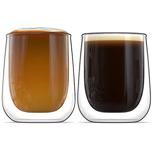 Stone & Mill Set of 2 Double Walled Glass Coffee Cups, 9.4 Ounce, Roma Collection, Insulated Mugs for Espresso, Latte, Cappuccino, Tea, Box Set AM 05