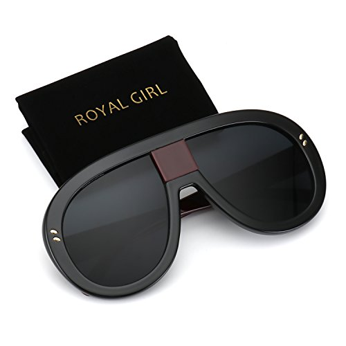 ROYAL GIRL Unisex Oversized Sunglasses Women Vintage Oval Thick Big Frame Shield Fashion Goggles (Red Leg, - With Sunglasses Visor